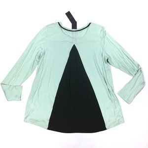 NYDJ Pleated Chiffon Back Long Sleeve Top